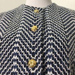 Vintage Jackets & Coats - Vintage Navy White Tweed Gold Button Blazer Jacket